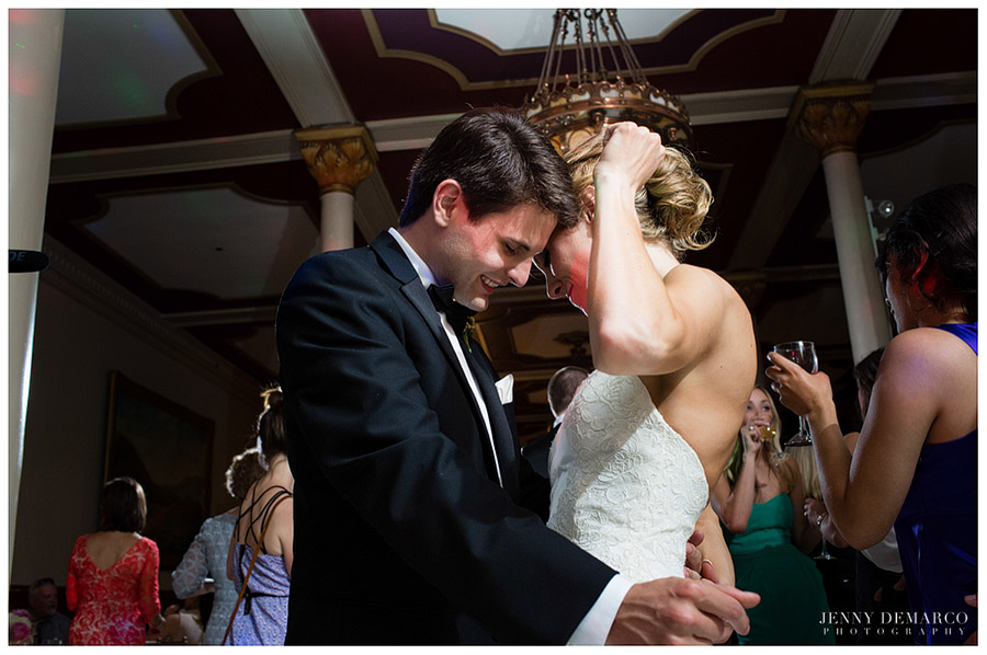 The bride and groom had a fun-filled evening at their wedding reception in downtown Austin.