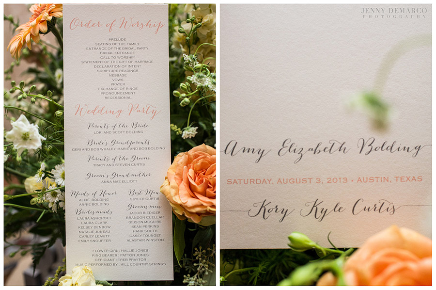 Peach, white, and green colors coupled with an elegant script made some exquisite details.