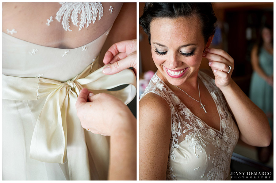 The bride wore a family heirloom: her mother's cross necklace.