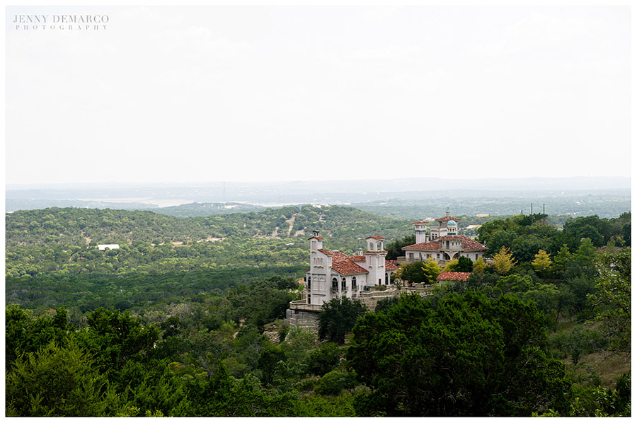 The beautiful wedding venue at Villa Antonia overlooks Texas Hill Country and Lake Travis.