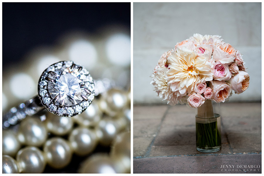 Pearls, round diamond rings and a wedding bouquet of pale orange and pink flowers gave the bride a classic style.
