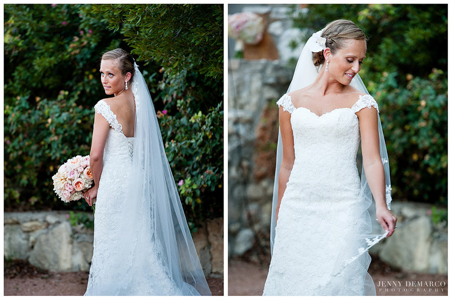 The bride's lacy white wedding gown was inspired by Monique Lhuillier.