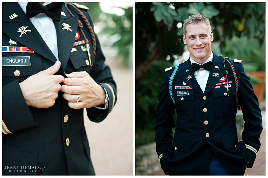 The groom was sharply dressed in his military uniform and a black bowtie.