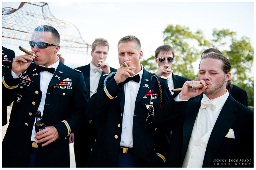 The groom and his groomsmen smoked cigars on the terrace at the wedding venue of Villa Antonia.