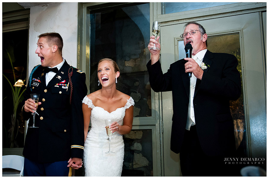 The father of the bride gave a hilarious toast to the newly wedded couple.