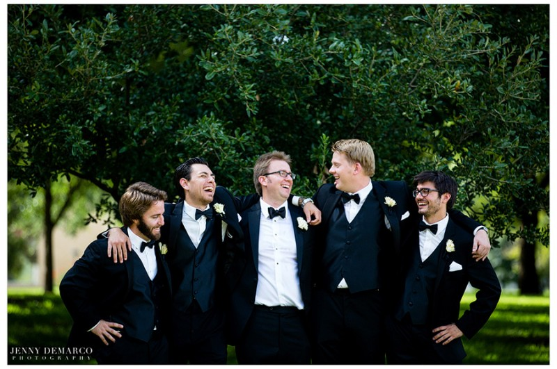 The groom and his groomsmen wore Vera Wang Black tuxes with distinguished boutineers arranged by Merveille Events.