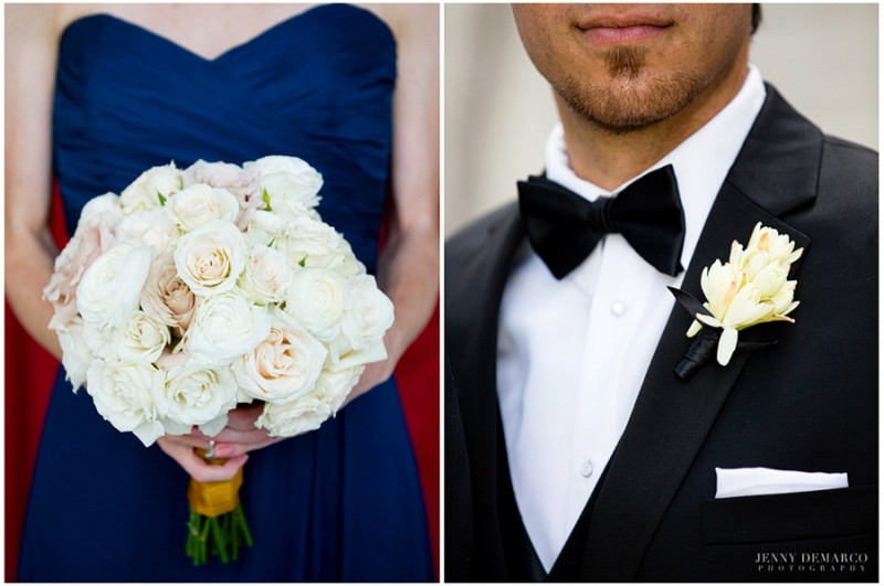 The bridesmaids carried rounded bouquet composed of vandela, blush spray roses, creamy blush roses, ivory spray roses, and white ranunculus. The groom's boutonniere was an arrangement of white stephanotis wrapped in black satin ribbon.