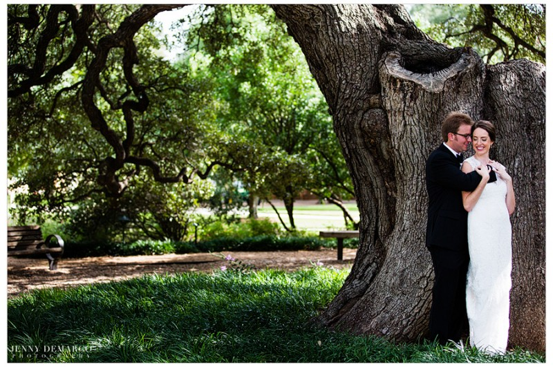 The bride and groom spend a sweet moment before their wedding ceremony at St. Edward's University.
