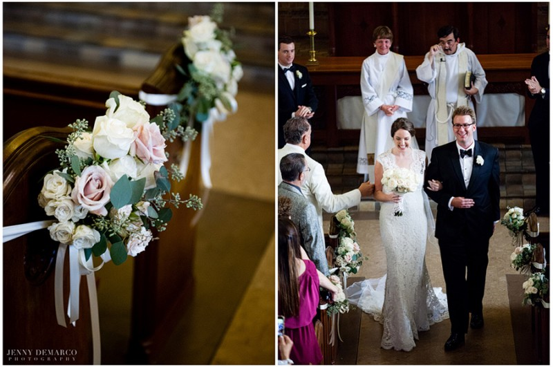 The pews were accented by Clusters of ivory Vandela roses, blush spray roses, ivory spray roses, creamy blush roses, and seeded eucalyptus. The bride and groom marched down the center aisle after a traditional Irish blessing.