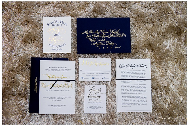 The couple's wedding invitations featured a navy and gold suite with letterpressed navy ink on gold foil.