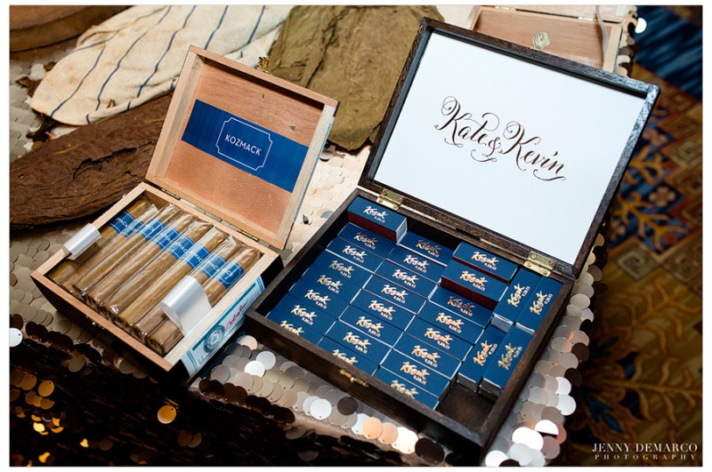 The bride and groom offered guests customized cigars and matches from the Bobalu Cigar Company.