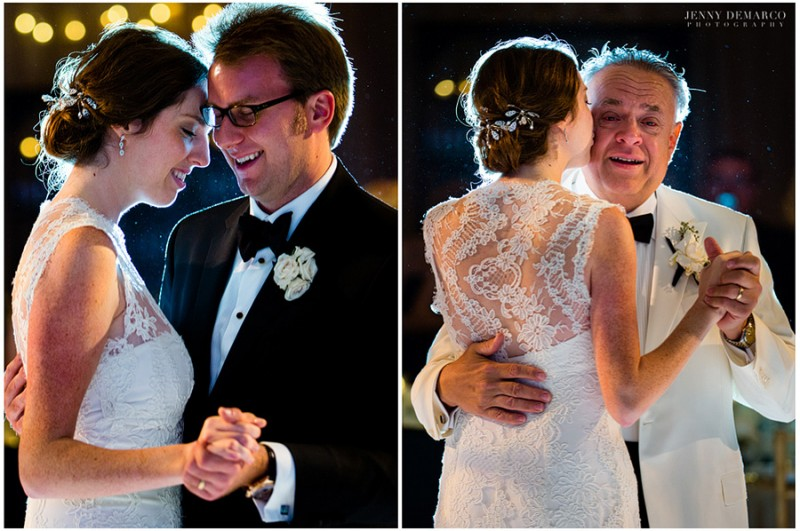 """The bride shares two sweet moments with her groom and her father in the main ballroom at the Four Seasons Hotel. The bride and groom chose for their first dance, """"You are the Best Thing"""" by Ray LaMontagne."""