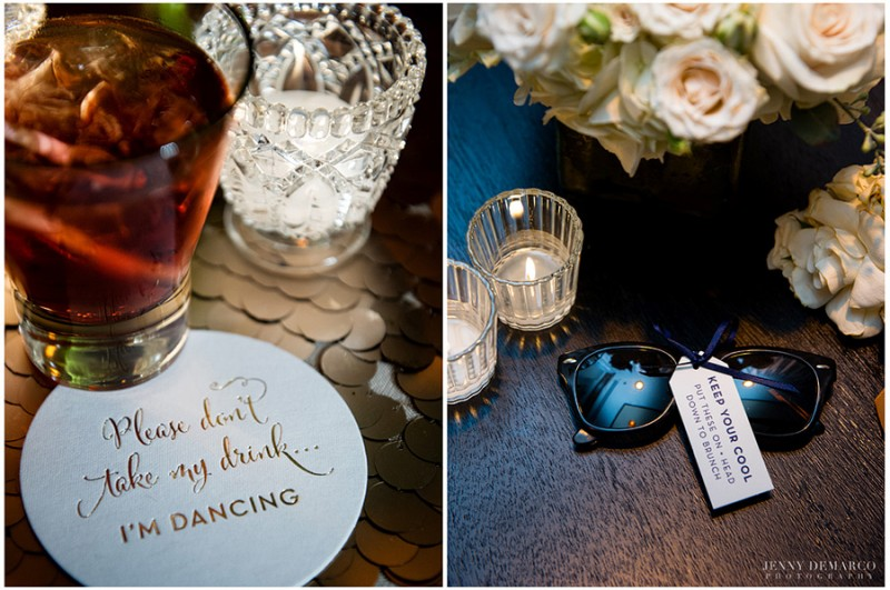 Guests were offered premium spirits on white coasters with gold foil calligraphy, and personlized sunglasses for the dancefloor. The center pieces were large flower arrangements featuring ivory hydrangeas and creamy blush roses.
