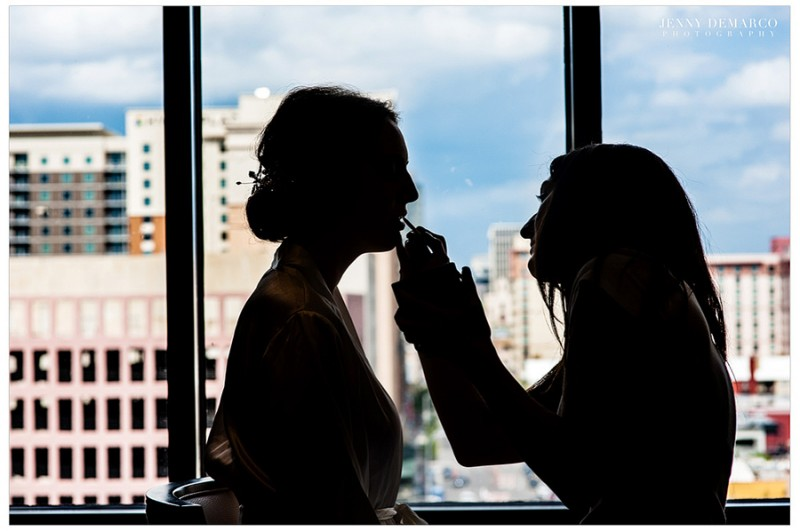 The bride prepares for her big day with the help of Lauren Lumsden of Rae Cosmetics at the Four Seasons Hotel.