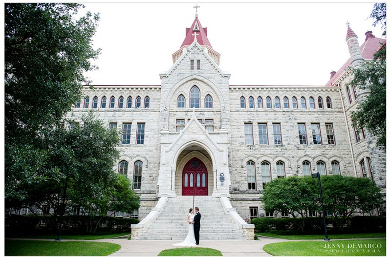 The bride and groom's First Look was at St. Edward's University in Austin, Texas, where the bride attended college.