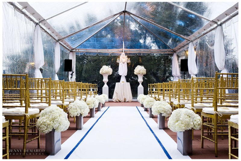 The private ceremony took place in an intimate, outdoor tent on the hill country grounds of the Barton Creek Resort and Spa in Austin Texas. Cream hydrangeas, arranged by Flora Fetish, accented the center aisle and alter.