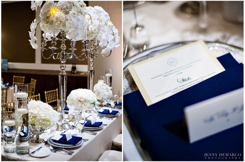 The reception guests were offered a gourmet three-course meal provided by the Barton Creek Resort and Spa on sophisticated china and silver flatware. The dinner menu was printed on engraved cards and presented in elegant navy blue napkin arrangements. The center pieces were prominent silver candlesticks and large flower arrangments designed by Flora Fetish.