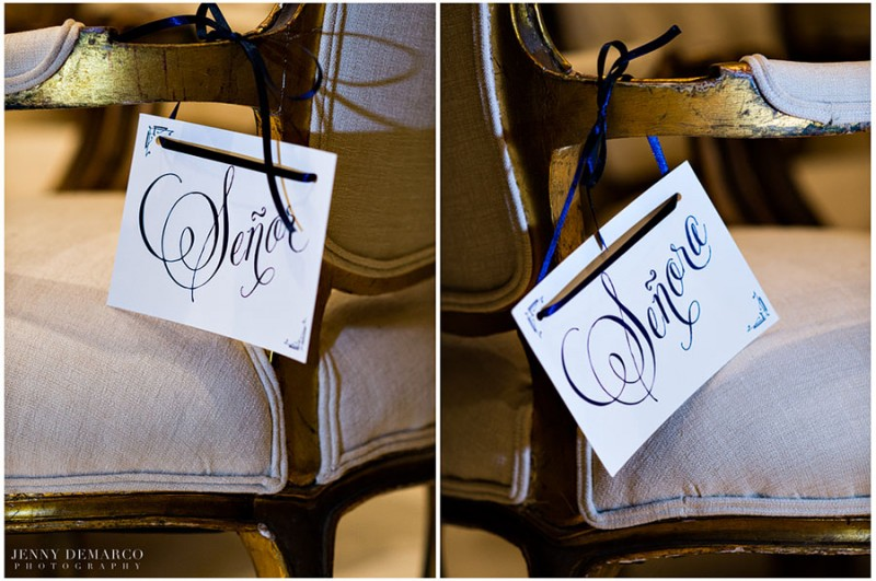 The bride and groom's reception seats were marked by engraved cards in the bride's natvie language of Spanish.