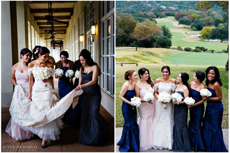 The bride and her wedding party walk the outdoor corridors at the Barton Creek Resort and Spa and laugh on the hill country, premeir gold course.