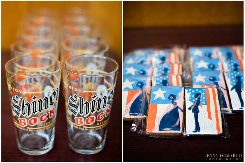 Personlized Shiner Bock shot glasses and hand-made, gourmet cookie cakes were features in the goom's private suite.