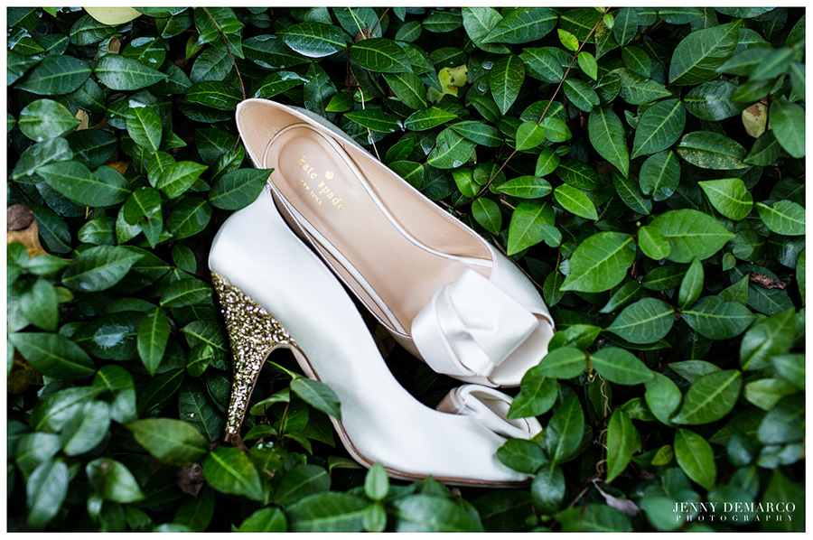 The bride's Kate Spade gold sparkly shoes.