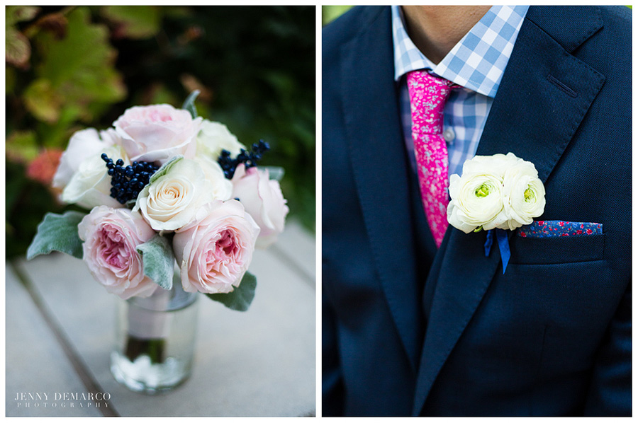 The groom's pink tie and blue shirt complimenting the roses.