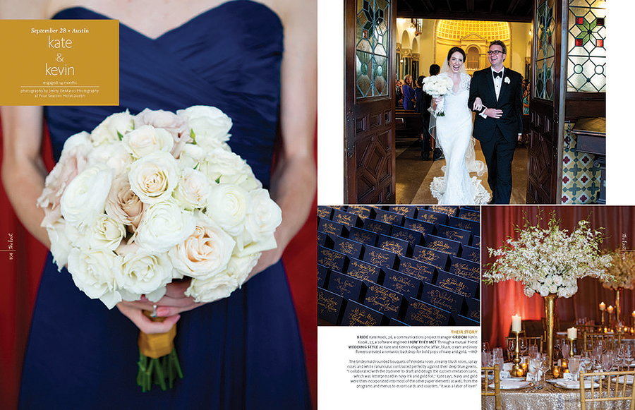 Kate and Kevin's wedding featured navy blue and gold color scheme. Place cards were hand lettered. The spread features the bride and groom exiting Central Christian Church.