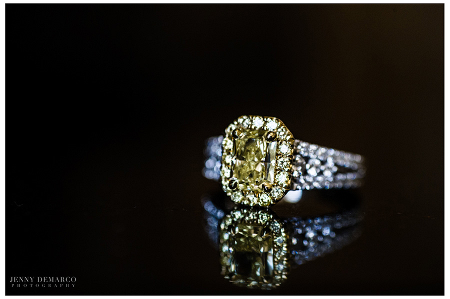 Rachel's canary engagement ring is noteworth for it's brilliance and contrasting yellow and clear colors.