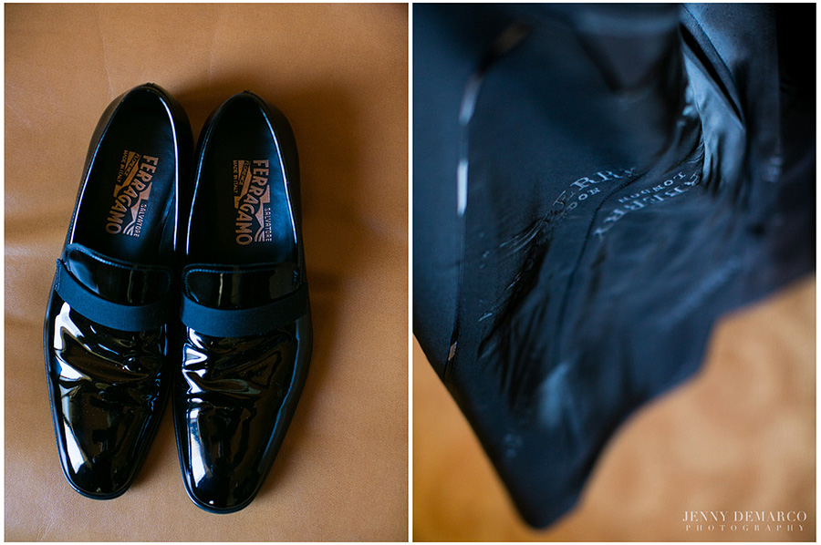 For the wedding day Ben wore Salvatore Ferragamo's exquisite men's shoes paire with the iconic burberry brand for his suit.