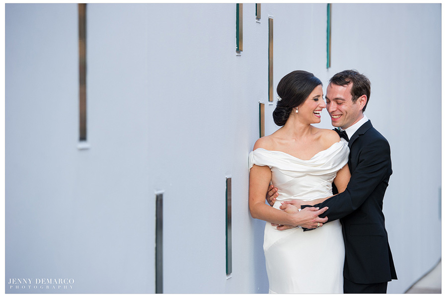 Jewish wedding portrait in front of The Contemporary Austin Jones Center in downtown Austin, Texas.