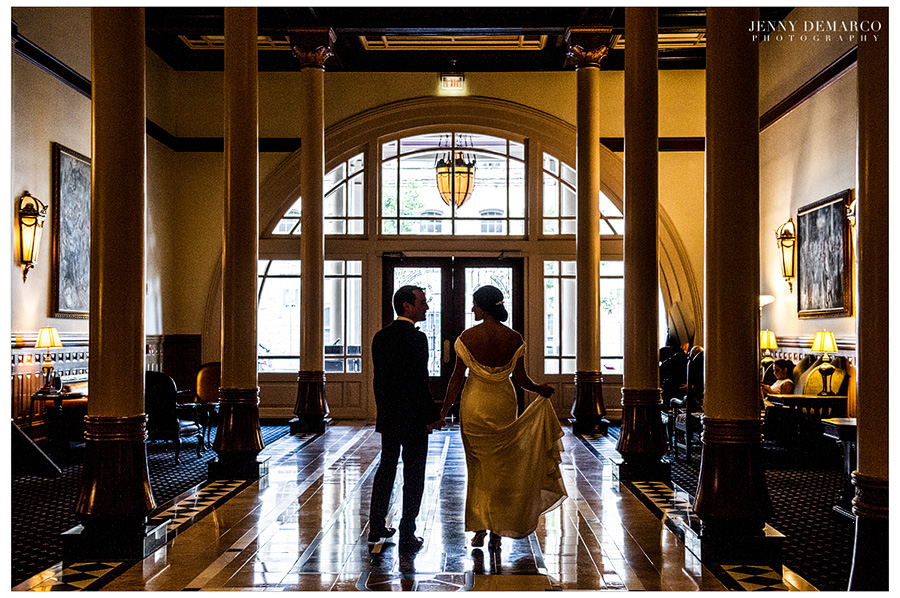 Rachel and Ben walking in the historic Driskill hotel.