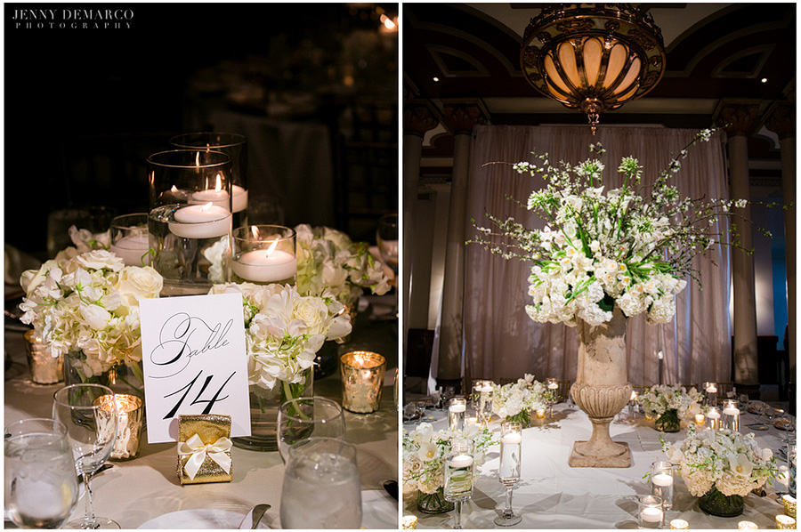 The elegant king's tabel at Rachel and Ben's reception, decorated with gold and white colors and beautiful flowers.