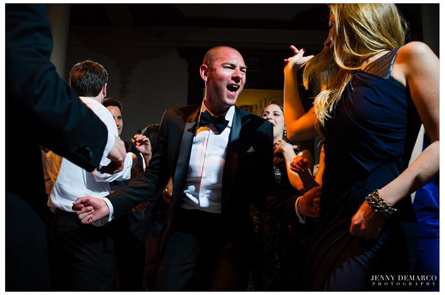 Black tie wedding reception at the Driskill Hotel in Austin, Texas.