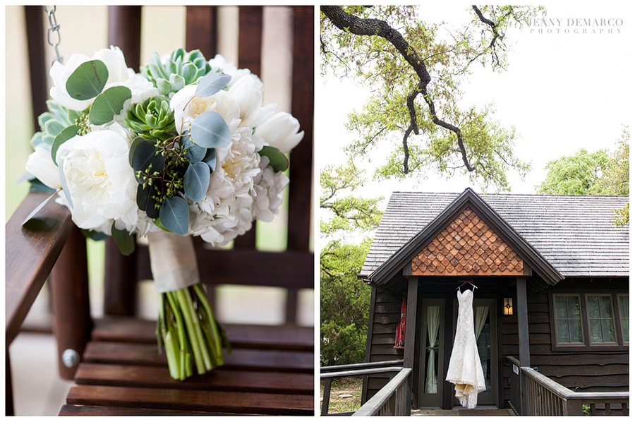 The bouquet is sitting on a bench and it has white peonies, white tulips, eucalyptus silver dollar leaves. The wedding dress is hanging from the porch of the bride with trees in the background.'s cottage