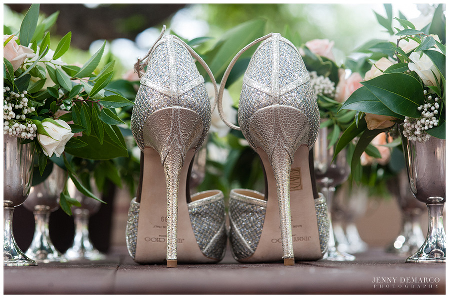 The back of Shelby's Kafta shoes which are a part of Jimmy Choo's bridal shoe collection.