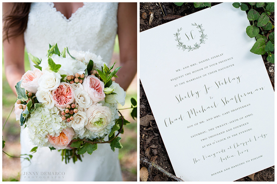 Shelby's earthy blush flower bouquet designed and put together by Sweet Magnolia Floral Studio with their unique floral wedding invitations.