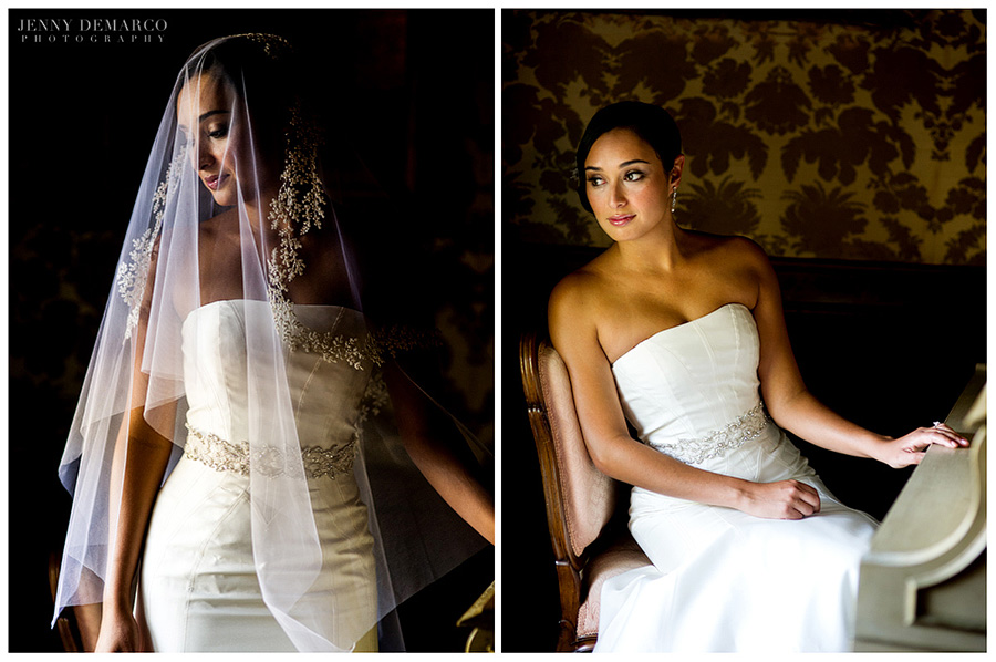 The bride is wearing a vera wang veil over her head with a champagne colored floral design to match the waistband around her dress. In the picture on the right, the bride is sitting down by a champagne colored piano  with yellow and brown wallpaper in the background.