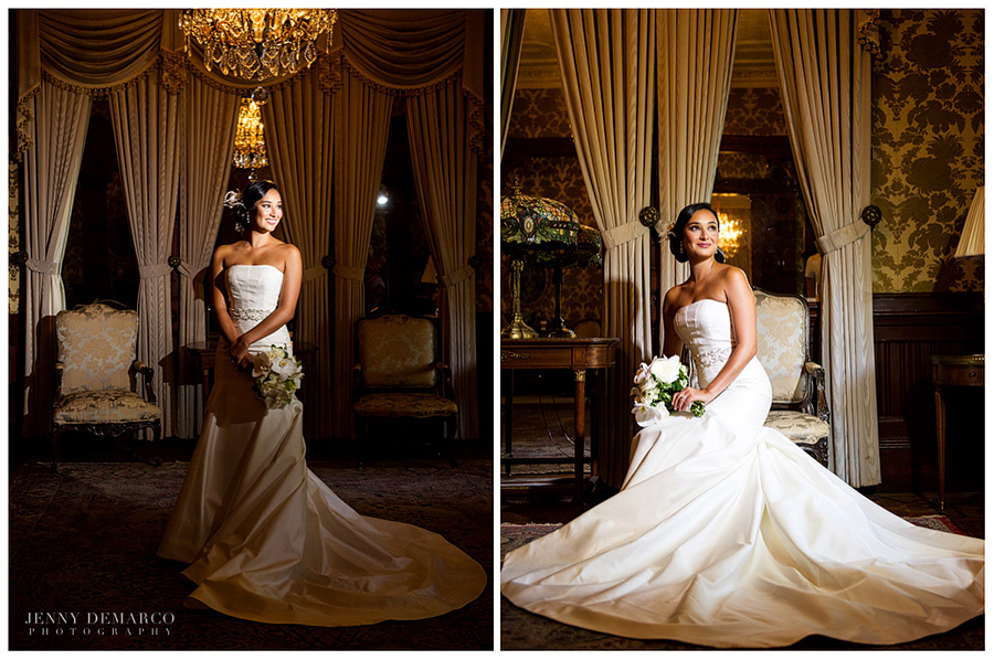 The picture on the left shows the bride standing under a chandelier holding a bouquet in a room filled with antique furniture. On the right she is sitting in an antique chair and holding her bouquet.