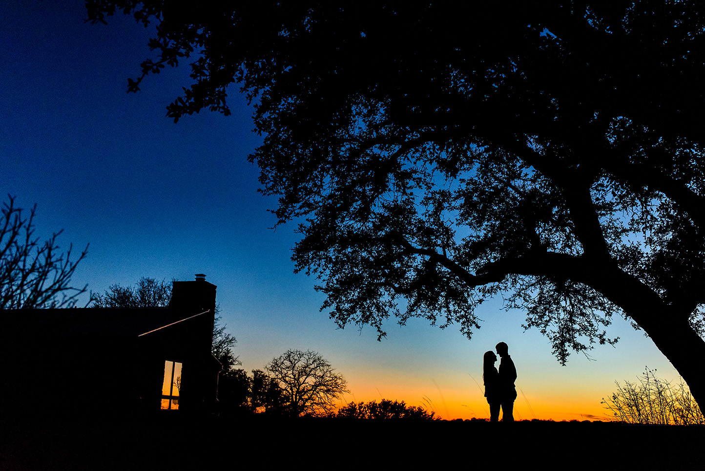 Great sunset silhouette shot of a couple