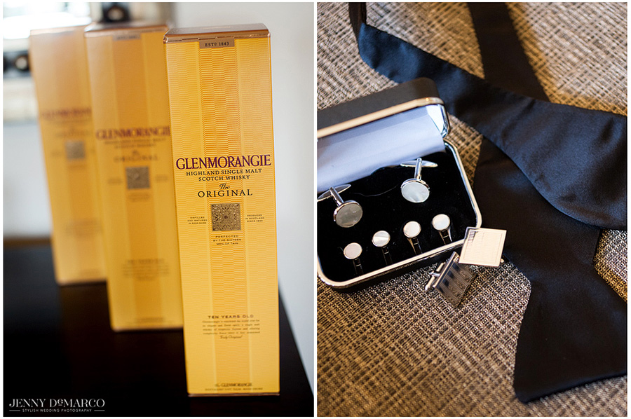 The groomsmen celebrate before the wedding ceremony with Glenmorangie malt scotch whiskey while getting dressed in their black tie best.