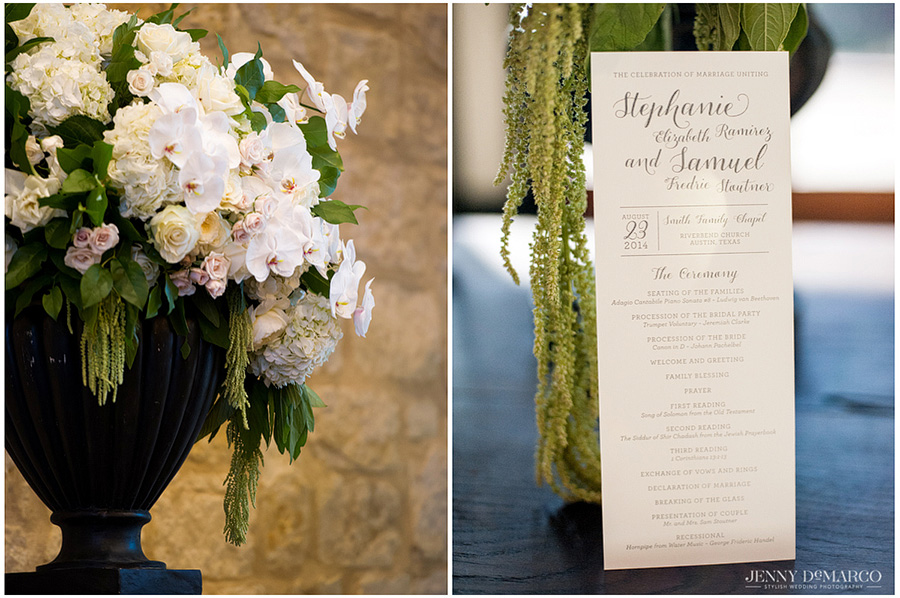 The wedding ceremony program is situated within elegant florals and willows at the Barton Creek Resort entrance.
