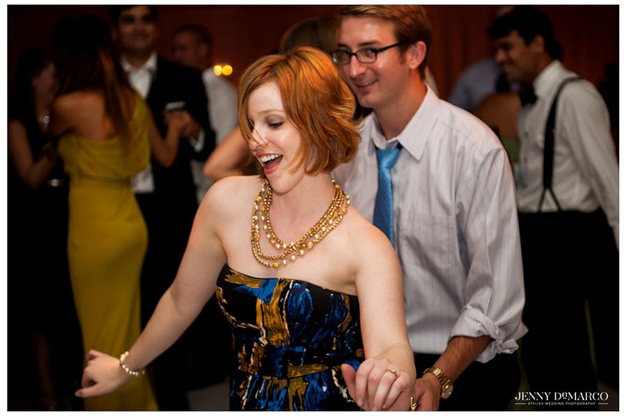 Wedding guests enjoy dancing at Barton Creek Resort thanks to Matchmaker Band.