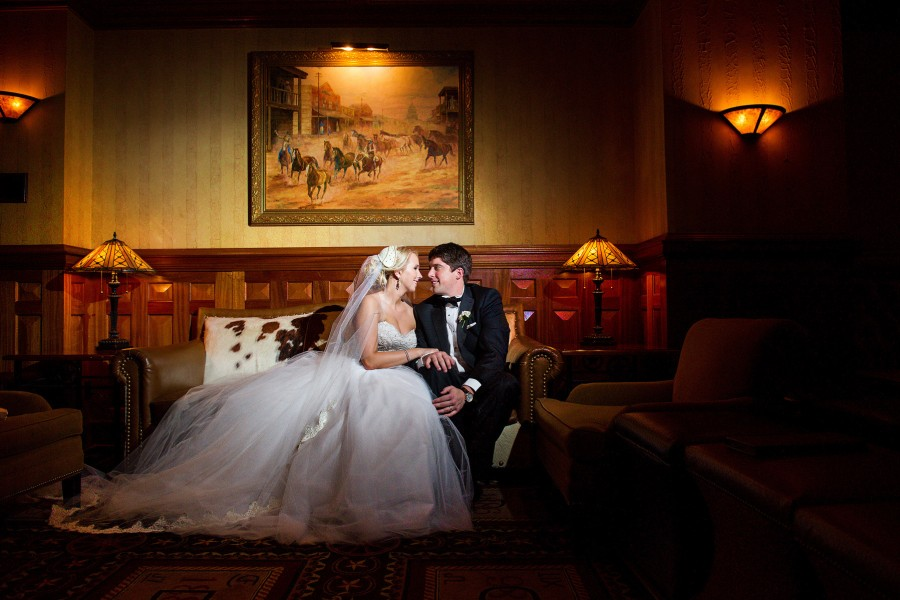 Bride and Groom at the Driskill Hotel photographed by the the best wedding photographer in Austin.