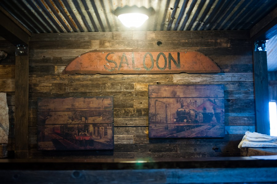 Details of saloon wooden signage at Vista West Ranch bar
