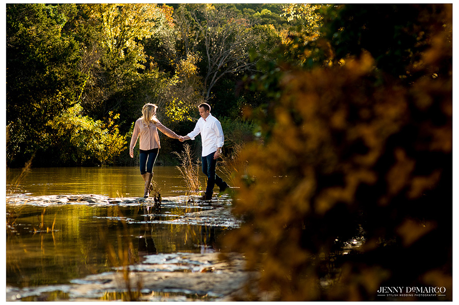 Creative engagement portrait using reflections at sunset along the Colorado river.