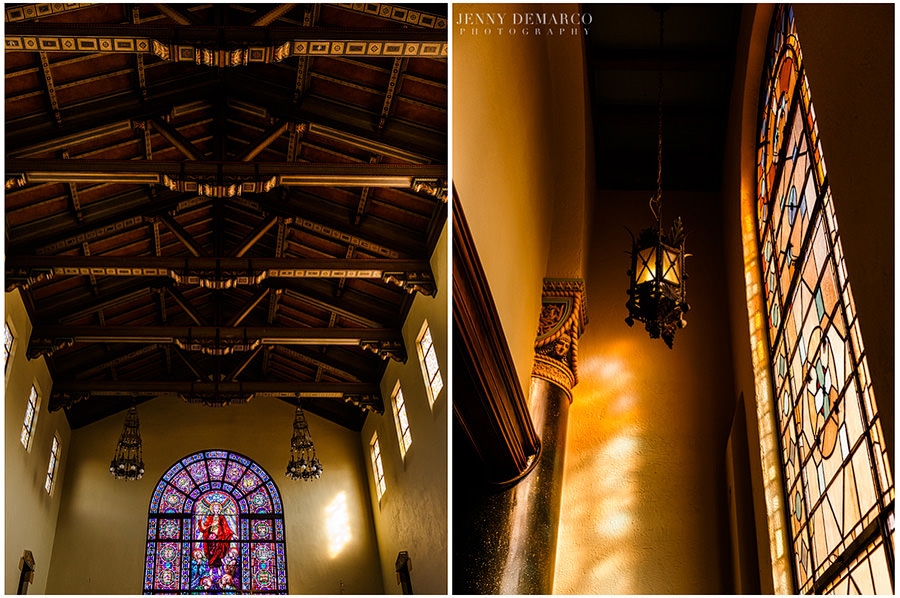 Central Christian church features beautiful architectural details including colorful stained glass windows and iron lanterns.