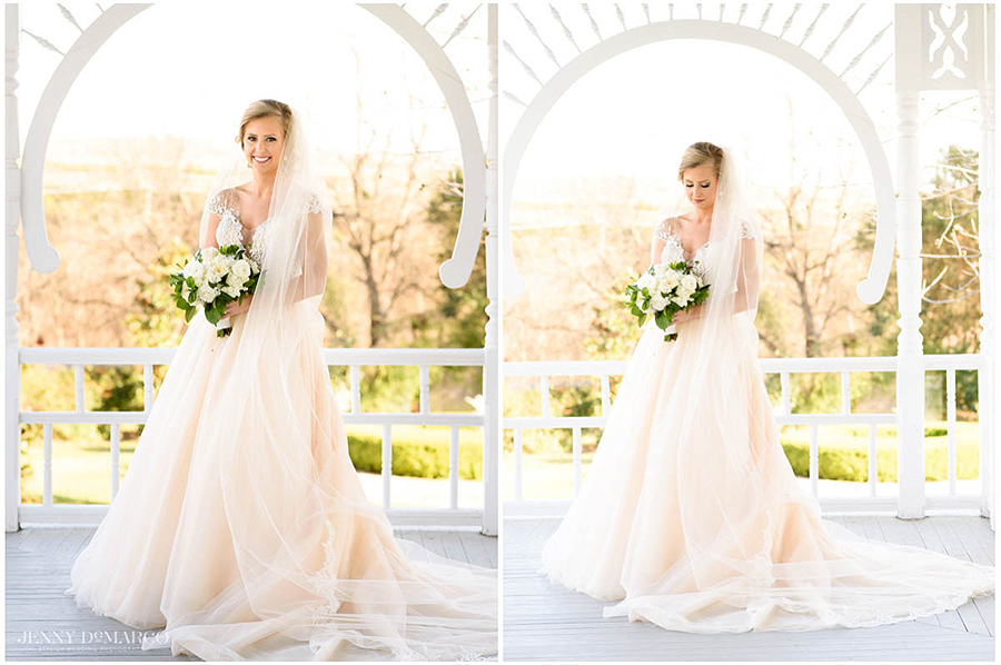 springtime lit and airy bridal portraits under the canopy