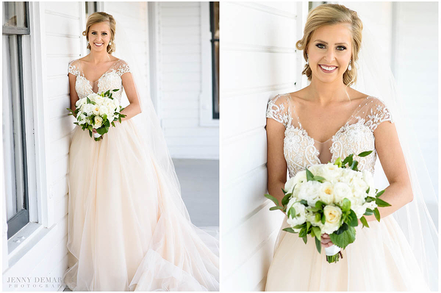 elegant bridal portraits in front of the white Barr Mansion