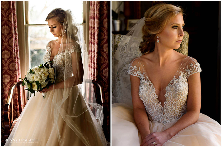 dramatic bridals inside the historic mansion