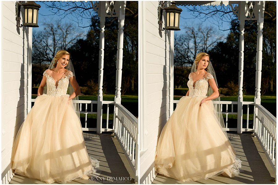 contrasting shadows light the beautiful bride at Barr Mansion